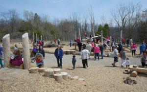 Huron Natural Area wood Playground Grand Opening